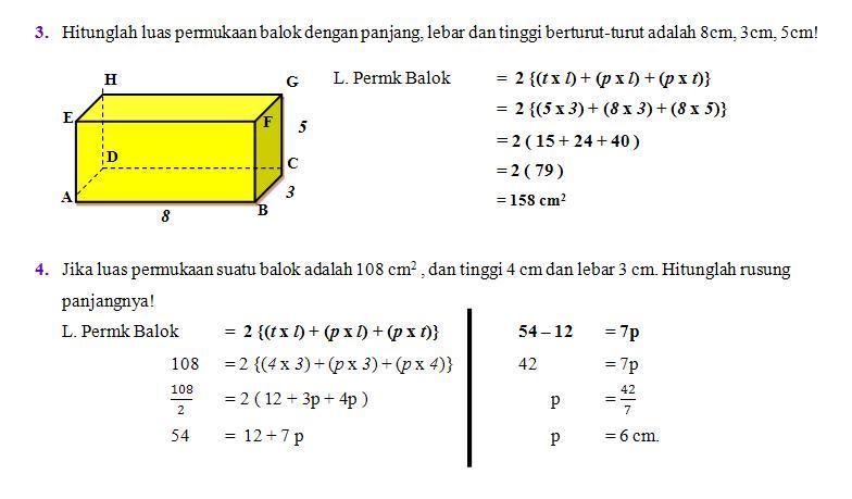 Materi luas permukaan kubus dan balok beserta contoh soal. » 7
